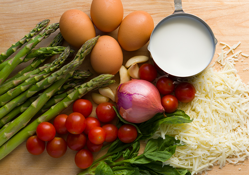 Ingredients Asparagus and Fontina Quiche