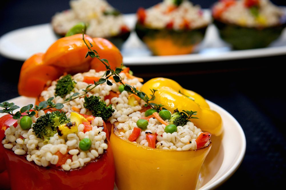 Barley-stuffed peppers